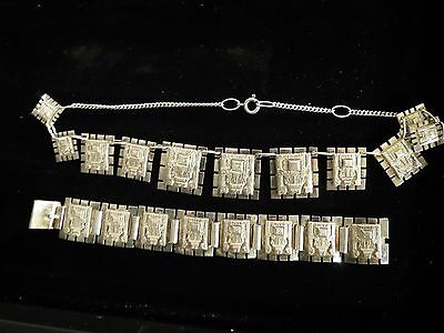 Peruvian  Sterling Silver Hinged Panel Bracelet & Necklace Inca Jewelry 925