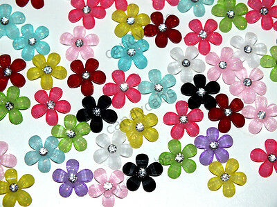 CandyCabs 20 Tiny Glitter flowers Mixed Col Cabochon Flatback Kawaii DIY Crafts