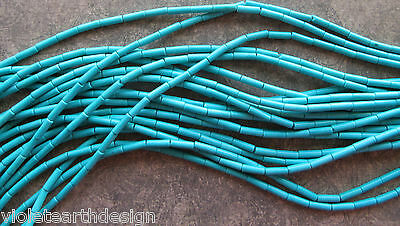 16 Inch Strand Synthetic Turquoise Beads, Tube, 4x13mm