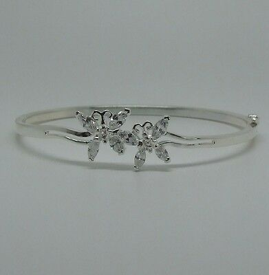 Women's 925 Sterling Silver Hinged Cz Butterfly Bangle/bracelet-New In Box