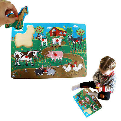 Dazzling Toys Wooden Peg Puzzle Toddler's Large Farm Jigsaw Educational Puzzle