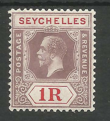 SEYCHELLES  SG119 THE 1921 GV 1r DULL PURPLE AND RED DIE 2 FINE MINT CAT £28