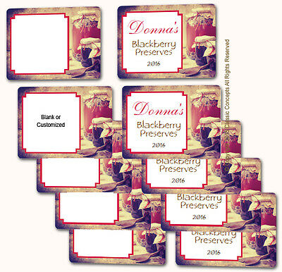 """10 Blank or Custom 2 x 2.7"""" labels Rustic Shabby Apple Jelly Jam Berry Canning"""