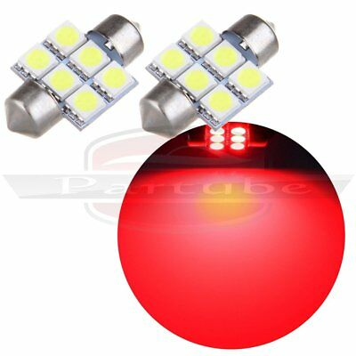 2x Super Red 31MM 5050 6SMD Festoon Dome Map License Interior LED Light Bulbs