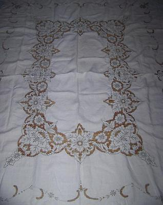 Sale Vintage Madeira Cut Work  & Taupe Embroidered Tablecloth 6 Napkins