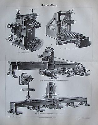 1888 HOBELMASCHINEN Original Alter Druck Antique Print Lithographie