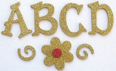 Doodlebug - GOLD - GLiTTER Alphabet Chipboard Letters Die Cuts 1.5""