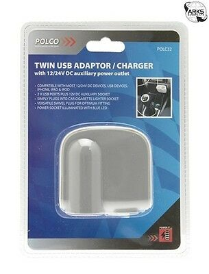 POLCO POWER IT Twin USB Adaptor with 12V DC Cigarette Lighter - POLC32