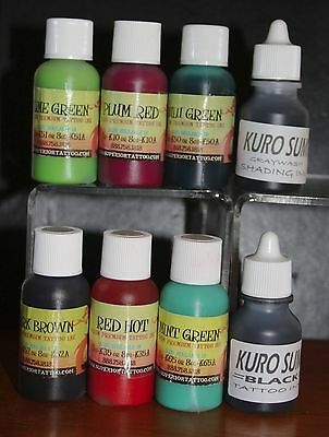 Quality Tattoo Ink Set of 8 Colours STARTER BEGINNERS SET - FREE GIFT: INK CUPS