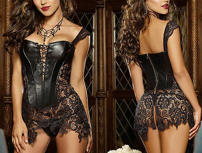 Gothic Ladies Sexy Faux Leather Overbust Corset Dress Black Plus Size S-6XL New