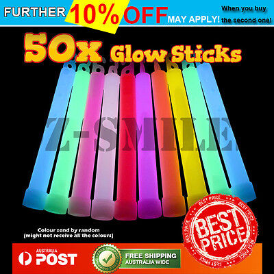 50 x 6 INCH MIXED GLOW STICKS W/LANYARD BULK PARTY RAVE LIGHT DISCO GLOW IN DARK