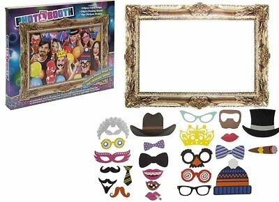 Photo Booth Group Selfie Set Party Photograph Kit 24 Props With Card Frame