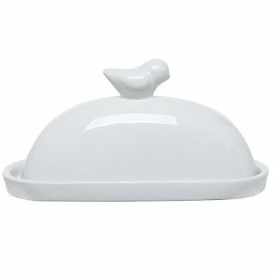 MyGift White Bird Design Decorative Ceramic Butter Dish and Lid Cover (White)
