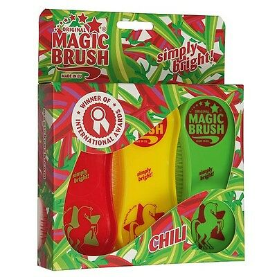 ORIGINAL MAGIC BRUSH - Set of 3 - Chili Colour Pack - Horse/Pet Grooming Brushes