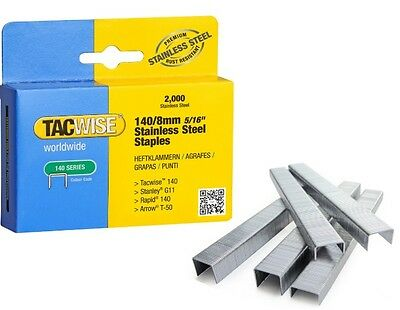 Stainless Steel Staples 140/8mm Tacwise Box of 2000 Outdoor Marine Use Free P&P