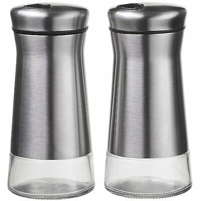 CHEFVANTAGE Salt and Pepper Shakers Set with Adjustable (Stainless Steel) NEW