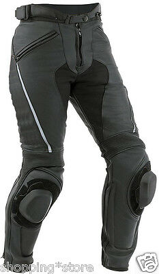 Black Men's Motorcycle Leather Trouser Motorbike Pant Leather Trouser Xs-4Xl