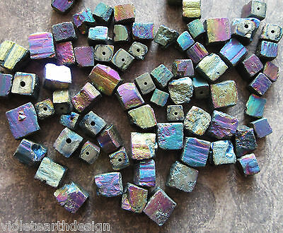10 Natural Crystal Electroplated Rough Cube Nugget Beads 8-12x8-12mm