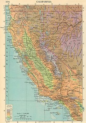 Vintage Colour Map, America, California, 1950