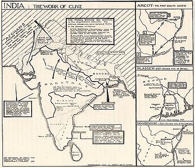 Vintage Sketch Map, India, The Work Of Clive 1765