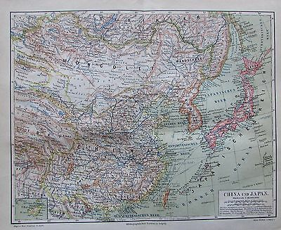 1888 CHINA UND JAPAN historische Landkarte map Lithografie 中華人民共和國 / 中华人民共和国 日本