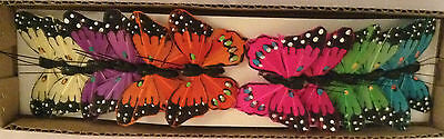 12 x 6cm MULTICOLOUR BUTTERFLIES WEDDING, FLORAL, DECORATION. CRAFT, CAKE