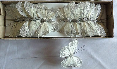 12 x 8CM WHITE FEATHER & SILVER GLITTER BUTTERFLIES WEDDING, FLORAL, DECORATION