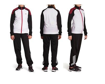 Adidas Kids Girls Tracksuit White/black/pink New