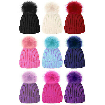 Girls Colourful Faux Fur Ribbed Pom Pom Beanie Hat with turn up