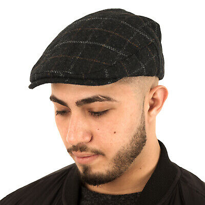 Unisex Mens Ladies Quality Wool Rich Country Check Fully Lined Flat Cap Hat Peak