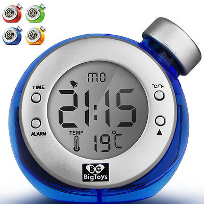 Eco Digital LCD Screen Water Powered Alarm Clock Timer Calendar Thermometer NEW