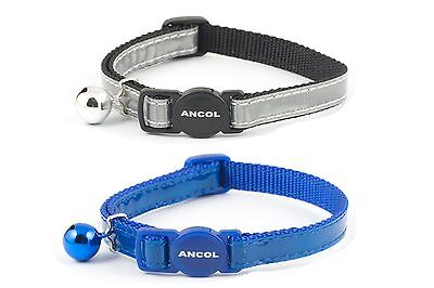 Ancol Gloss Reflective Cat Collar  in Red , Blue and Silver