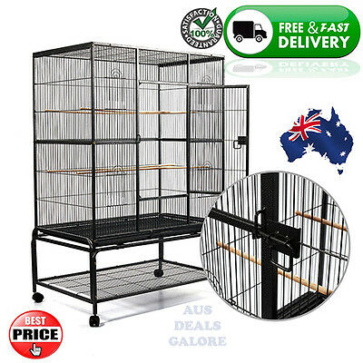 Bird Cage Parrot Budgie Canary Aviary Stand Castor Wheels Shelf Black 140cm Pet