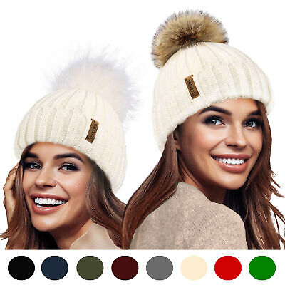 Ladies Girls 3 in 1 Rib Beanie Hat & 2 Interchangeable Large Faux fur Pompoms