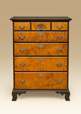 Country Bedroom Set - Early American - Primitive Bed & Chest - Tiger Maple Stand