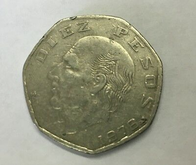 1978 Mexican Diez Pesos Coin Circulated