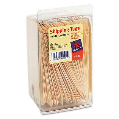 Strung Shipping Tags, 10pt. Stock, 4 3/4 x 2 3/8, Manila, 100/Pack