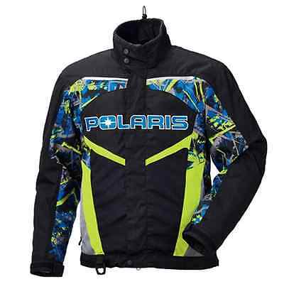 Polaris™ Men's Throttle Insulated Snowmobile Jacket - Blue/Lime Tri - 2866093_