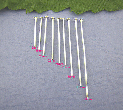 900 SILVER PLATED HEAD PINS~9 different sizes in pack~JEWELLERY MAKING (8G)UK
