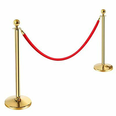 3.3' Gold Metal Crowd Control Stanchion Queue Barrier Post 6.5' Red Velvet Rope