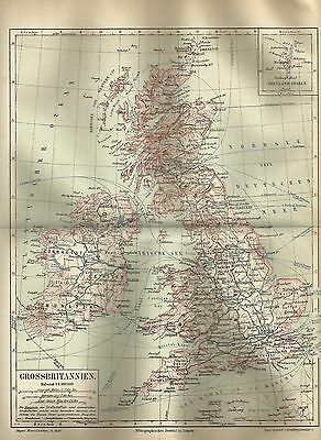 1889 GROSSBRITANNIEN Original Alte Landkarte Karte Antique Map Lithographie