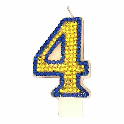 Minion Themed CANDLE Number Four 4 Diamante Cake Topper Birthday Party FREEPOST