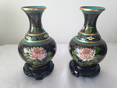 Lovely Pair Of Chinese Black/pink Flowers/butterflies- Cloisonne Vases