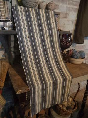 "Antique Indigo Blue Wide Stripe Ticking Fabric Linen 19thc 14""x30"""