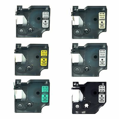 """6PK 45010 45013 45018 45019 45022 45023 Label Tape for DYMO D1 LM 210D 12mm 1/2"""""""