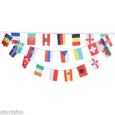 24pcs String Hanging Flags Banner for 2016 France Football Euro Cup - 14 x 21cm