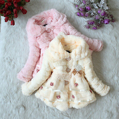 Kids Baby Girls Faux Fur Fleece Clothes Floral Cotton-padded Warm Coat Jacket