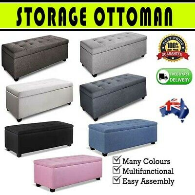 Large Blanket Box Ottoman Storage Linen Fabric Foot Stool Toy Chest Seat Bench