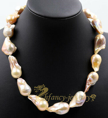 Large Pink Unusual Keshi Keishi Drip Baroque Freshwater Pearl Necklace 20""