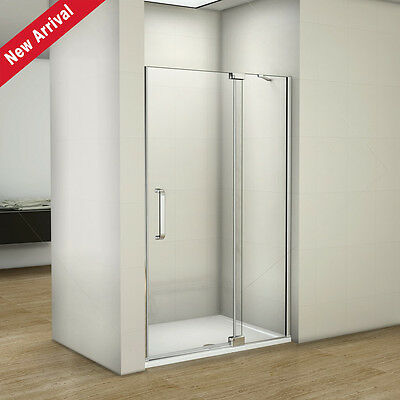 1200 Frameless Pivot Shower Enclosure Glass Door Screen Stone Tray Easy Clean